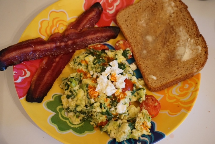 Finished Product: Spanakopita scrambled eggs with turkey bacon and wheat toast