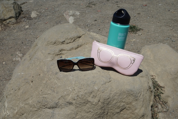 A few of my outdoor essentials - Klean Kanteen water bottle, Tiffany Sunglasses, Rebecca Minkoff Sunnies Pouch