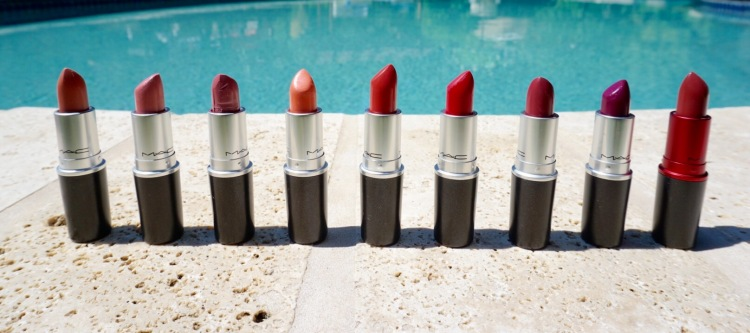 MAC Lipsticks (outlined from L to R below):