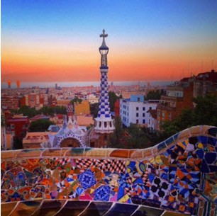 Looking out at Barcelona from Park Guell (photo taken from Park Guell's instagram as I couldn't find the one I wanted)
