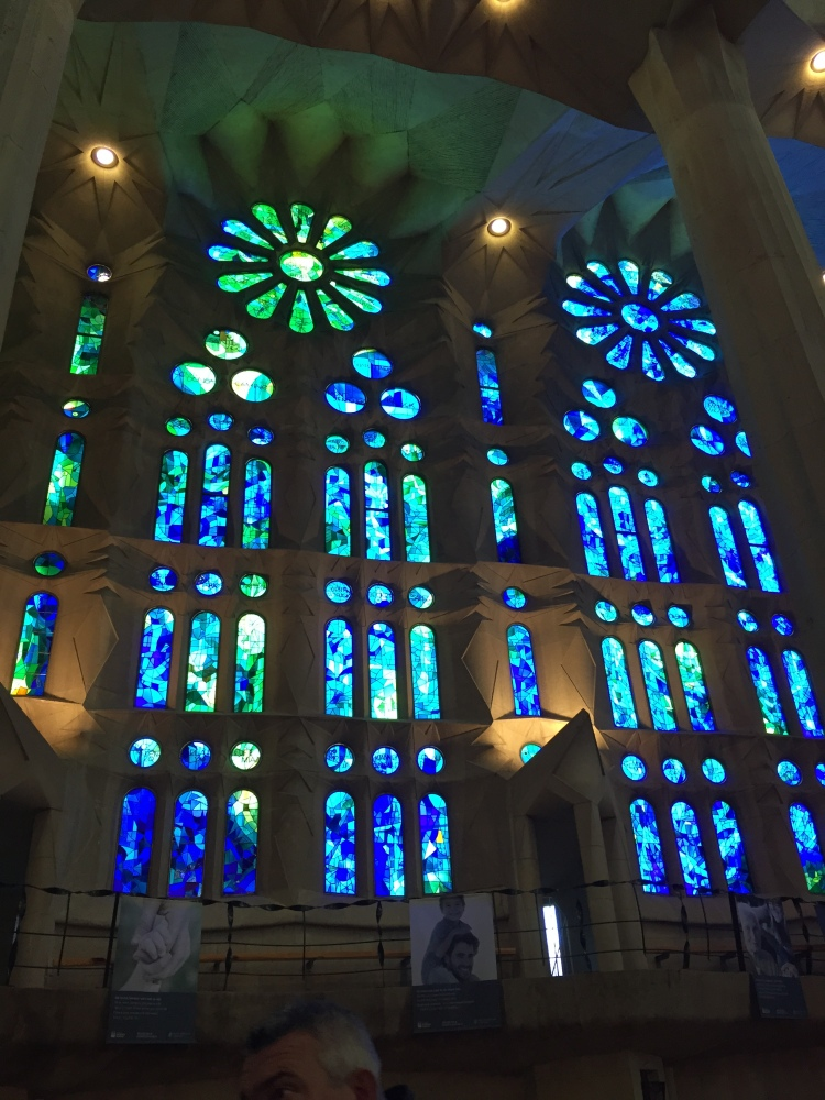 Small portion of the incredible stained glass interior of the Sagrada Familia