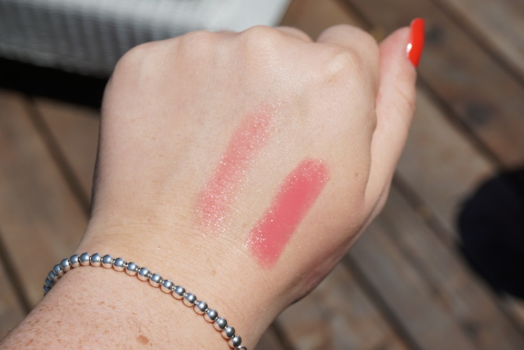 Swatches of the Urban Decay Sheer Revolution Lipstick in Sheer Streak - On the Left - Sheer Streak (one swipe) On the Right - Sheer Streak (built up)